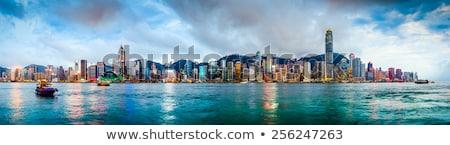 Hong · Kong · horizonte · puerto · colorido · luces · de · la · ciudad · noche - foto stock © joyr