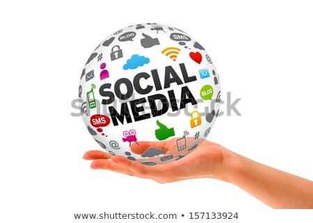 eller · sosyal · medya · küre · 3D · imzalamak - stok fotoğraf © kbuntu