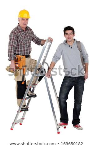 Construtor escada aprendiz homem construção urbano Foto stock © photography33