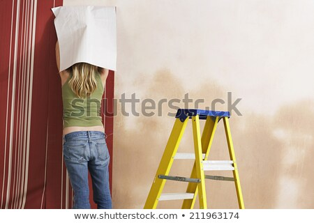 Decorator with step-ladder about to hang wallpaper Stock photo © photography33