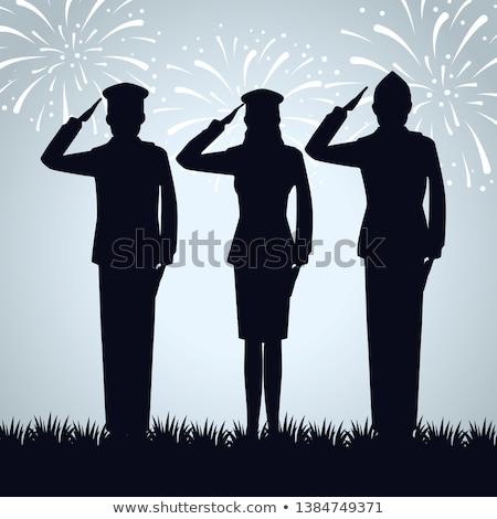 Silueta ejército soldado colinas puesta de sol graves Foto stock © experimental