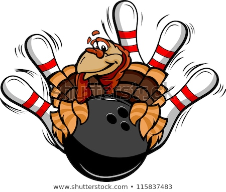 Bowling Thanksgiving Holiday Turkey Cartoon Vector Illustration Stock foto © ChromaCo