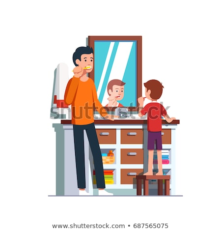Karikatur · home · Waschraum · Zahn · Pinsel · Tasse - stock foto © RAStudio
