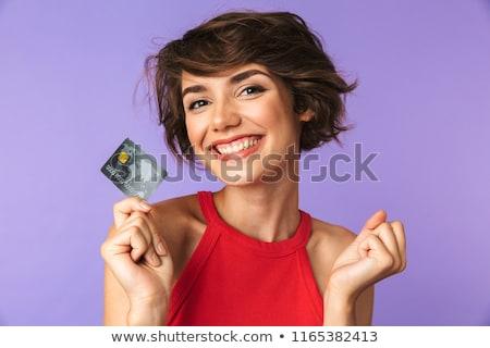 Сток-фото: молодой · довольно · брюнетка · женщину · изолированный · белый