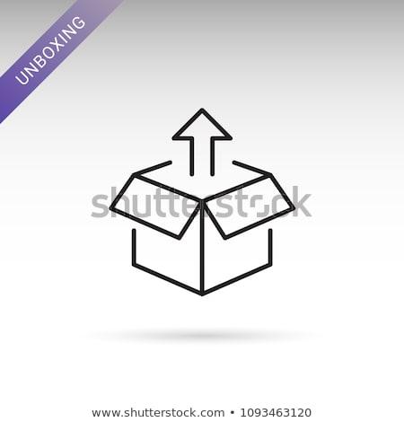 Open Color Cardboard Box and Arrow. For Design. Stock photo © tashatuvango