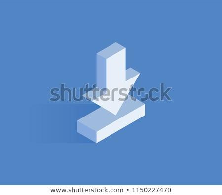 Stok fotoğraf: 3D · aşağı · ok · indirmek · 3d · illustration · kelime
