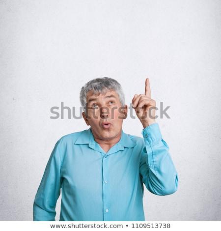 Stockfoto: Portret · knap · zakenman · wijzend · iets · witte