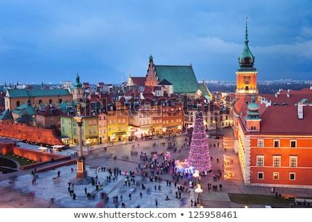 Christmas tijd Warschau oude binnenstad Polen verlicht Stockfoto © rognar