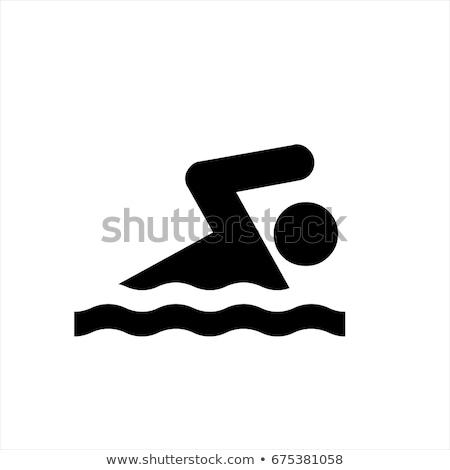Zwemmen pictogram zwarte witte water meisje Stockfoto © seiksoon