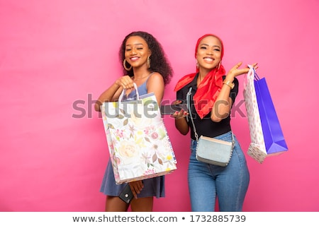 gelukkig · vrouw · klant · afro-amerikaanse · kleurrijk - stockfoto © Farina6000