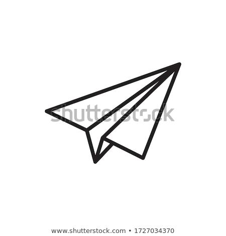 avião · de · papel · ícone · isolado · branco · botão · cristal - foto stock © cteconsulting