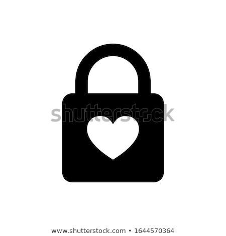 coração · trancar · fechado · cadeado · dourado · chave - foto stock © inxti