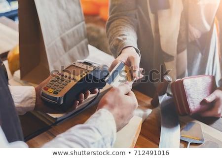 Creditcards hand vrouw creditcard Stockfoto © justinb