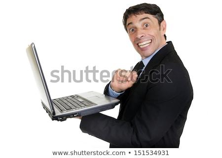 Empresário arreganhar diversão retrato maduro Foto stock © smithore