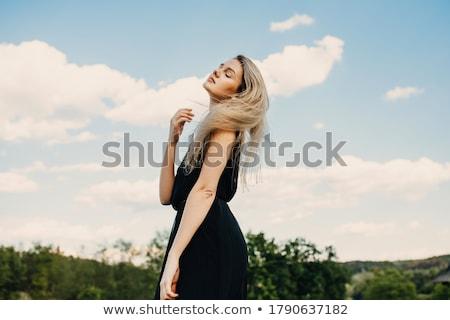 mooie · blond · groene · jurk · gebreid - stockfoto © chesterf