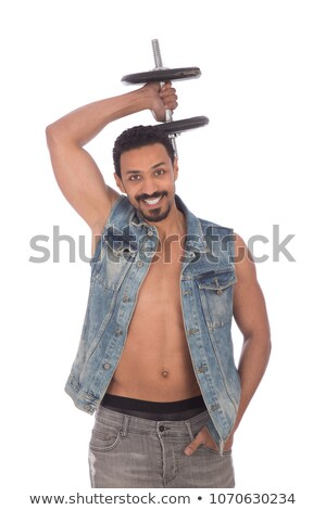 Foto stock: Topless · homem · mão · de · volta · bolso · vista · lateral