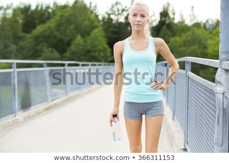 mooie · blond · jogging · park · vrouw - stockfoto © richscalzo