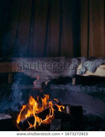 Piros kunyhó tél erdő fából készült karácsony Stock fotó © Anterovium