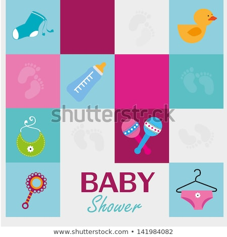 new born baby card with sweet and bottle and ducks Stock photo © compuinfoto