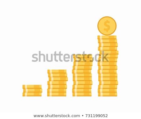 sok · érmék · oszlop · izolált · fehér · pénz - stock fotó © givaga