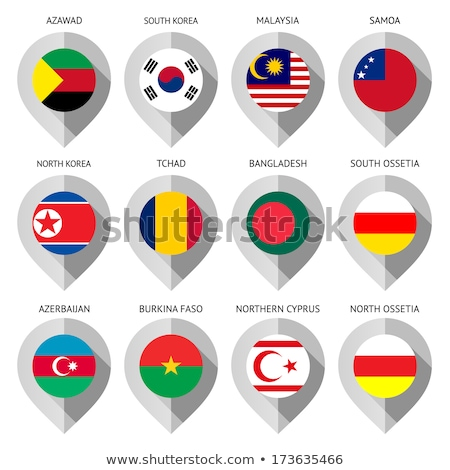 Stock photo: Map marker with flag-set fourteenth