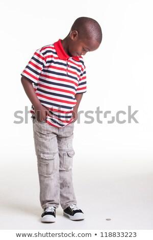 небольшой люди глядя пенни пластиковых деньги Сток-фото © shanemaritch