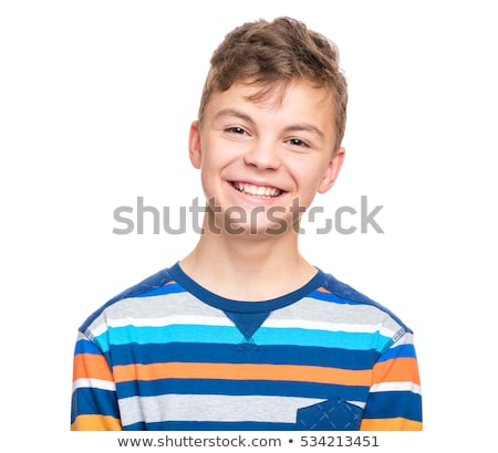 Retrato atractivo riendo sonriendo nino aislado Foto stock © meinzahn