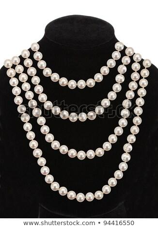 Gyöngy nyaklánc fekete próbababa izolált fehér Stock fotó © tetkoren