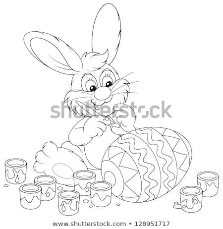 Easter bunny with big egg and brush Stock photo © heliburcka