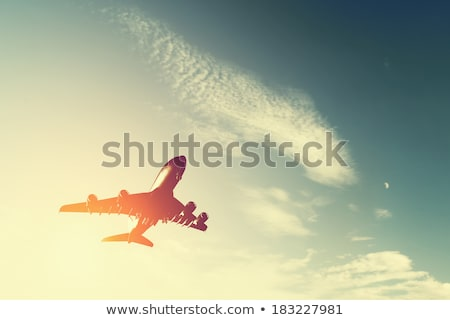 Silhouette of plane wing at sunrise  Stock photo © meinzahn