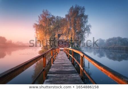 Casa lago brumoso manana vapor agua Foto stock © xuanhuongho