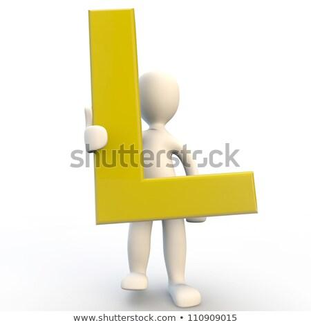 Geel · brief · karakter · 3d · render - stockfoto © Giashpee