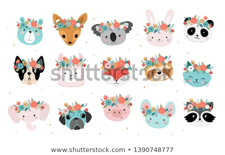 Cartoon · koala · funny · flor · sonrisa · fiesta - foto stock © perysty