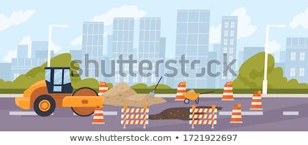 Foto stock: Construção · de · estradas · sinais · laranja · estrada · perigo