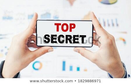 Sırları etiket dosya ahşap Stok fotoğraf © tashatuvango