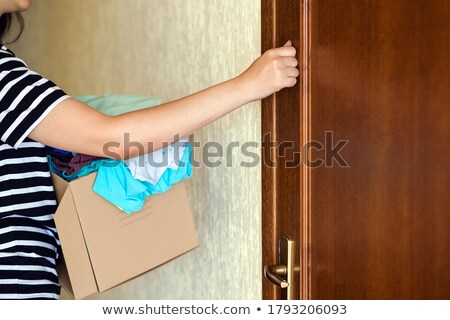 Hand is knocking on help And Support door Stock photo © stevanovicigor