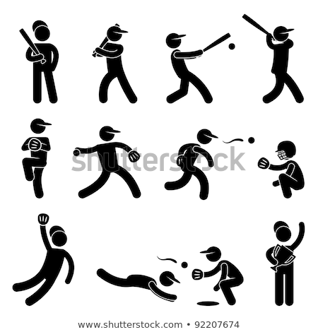 baseball player Pictograms people Man Icon Sign Symbol stock photo © kiddaikiddee