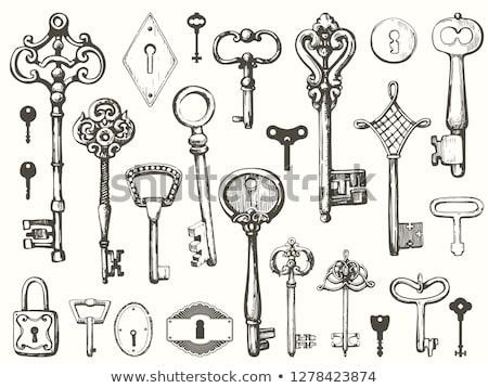 эскиз ключами Vintage стиль вектора Валентин Сток-фото © kali