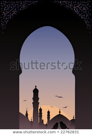 Árabes · janela · ver · horizonte · romântico · sunset - foto stock © BibiDesign