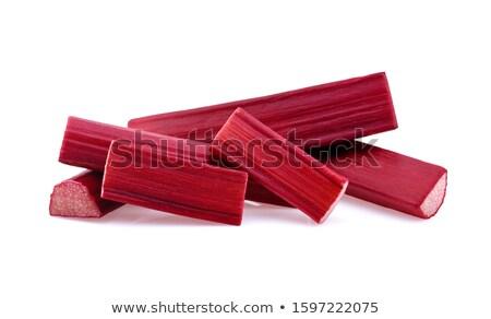 Сток-фото: свежие · ревень · белый · пластина · цвета · ткань