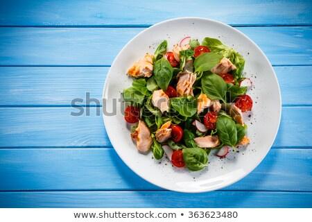 makréla · saláta · finom · zöldbab · rakéta · levelek - stock fotó © ruzanna