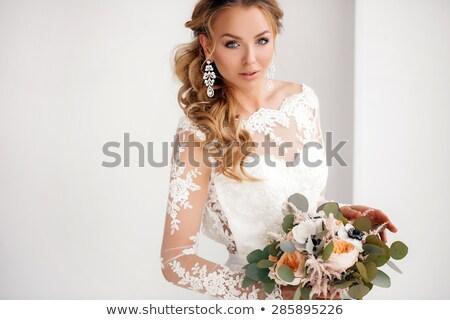 Schönheit Porträt Braut tragen Hochzeitskleid Rock Stock foto © Victoria_Andreas