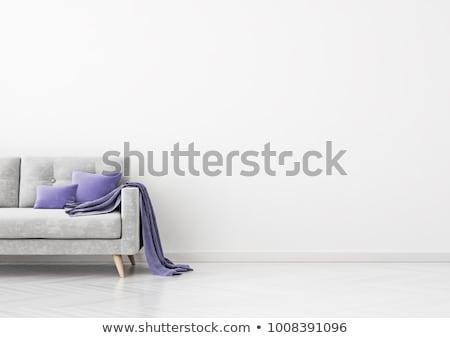 Kockás lila vánkos izolált fehér szövet Stock fotó © stevanovicigor