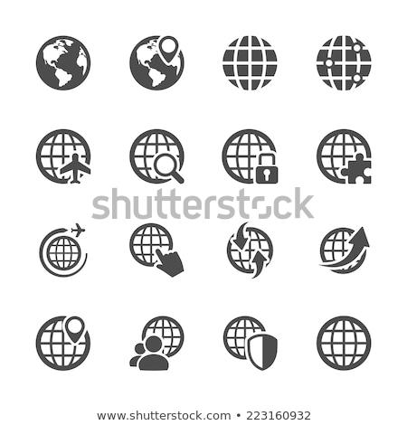 glob · hartă · a · lumii · verde · icoane · mediu - imagine de stoc © serebrov