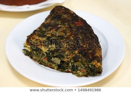 tortilla de espinacas, spanish spinach omelette Stock photo © nito