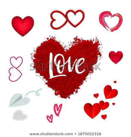 Amor banners dois rubi corações coração Foto stock © carodi