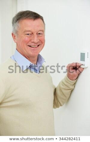 centraal · verwarming · huis · thermostaat · euro - stockfoto © highwaystarz