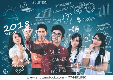 Stock fotó: üzletasszony · magyaráz · grafikon · kollégák · üzlet · kéz
