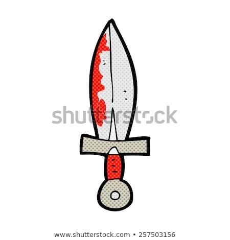 Komische cartoon bloedig zwaard retro Stockfoto © lineartestpilot