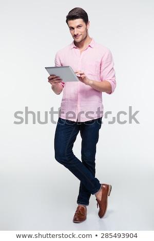 ビジネスマン · 笑みを浮かべて · あごひげを生やした · スーツ - ストックフォト © deandrobot